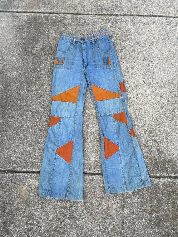 Vintage 1970s Leather/ Denim Patchwork Flares Size