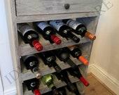Antique Wooden Wine Rack Reclaimed Vintage Storage Unit Freestanding Rustic Retro Bedroom Living Room Unique Cabinet Open Storage 4-Tier