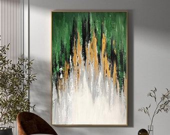 Extra Large Abstract Painting - Original Acrylic Abstract Painting Green Gold White Neutral Abstract Canvas Art Gold Leaf Abstract Painting