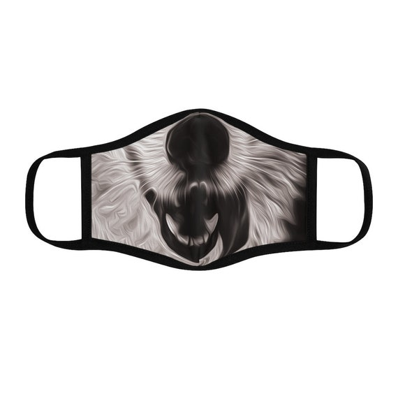 Filter Pocket Facemask- Happy Husky Black and White