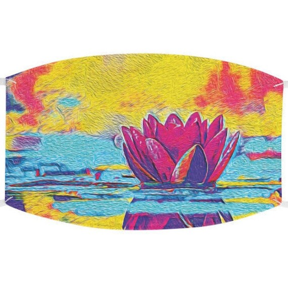 Facemask- A Lotus Flower Floats Design With Adjustable Ear Loops