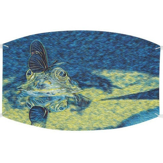 Facemask- Butterfly Frog Lily Pad Pond Design With Adjustable Ear Loops