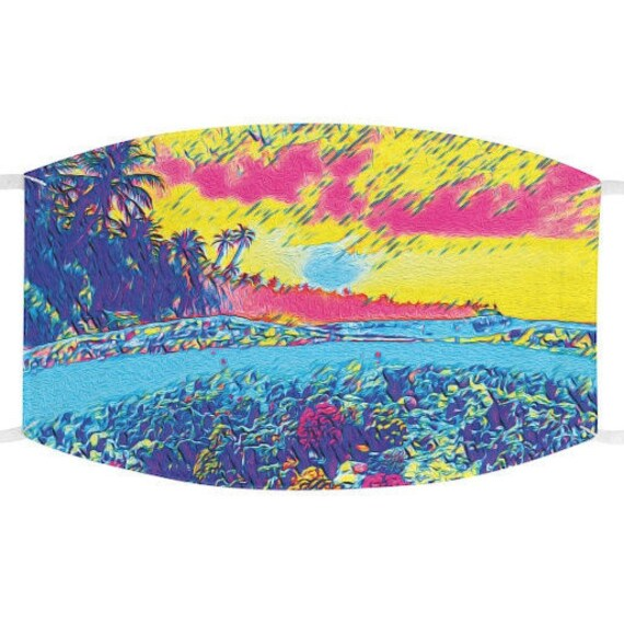 Facemask- Tropical Palm Tree Beach Coral Reef Dreamscape