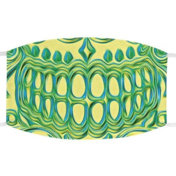 Facemask- Yellow Lime Green Smiling Skull