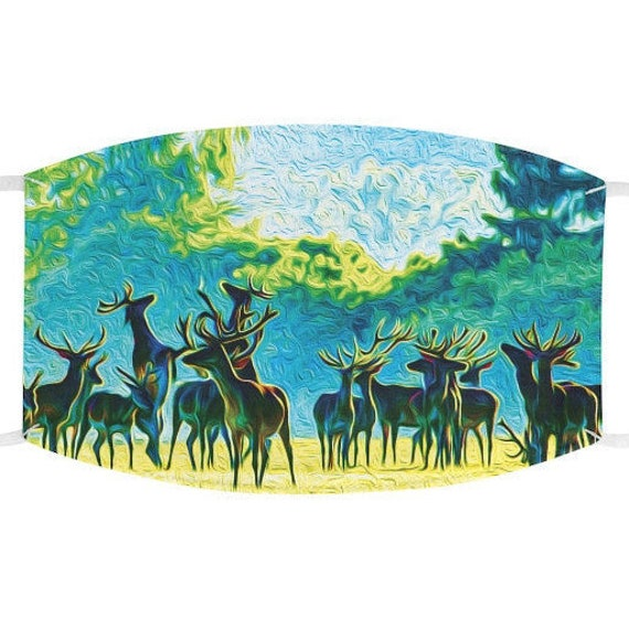 Facemask- Majestic Herd of Reindeer In Forest
