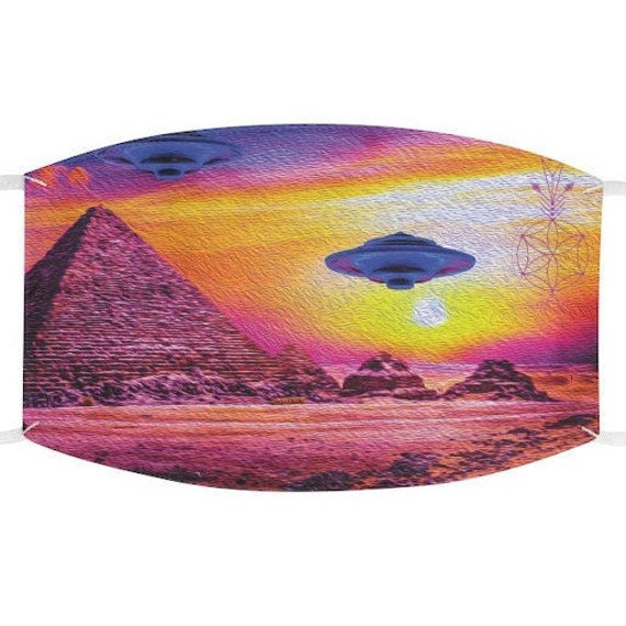 Vibrant Ancient Aliens Pyramid Adjustable Fabric Face Mask