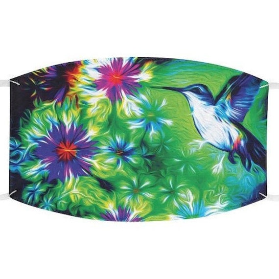 Facemask- Floral Humming Bird Flower Nature