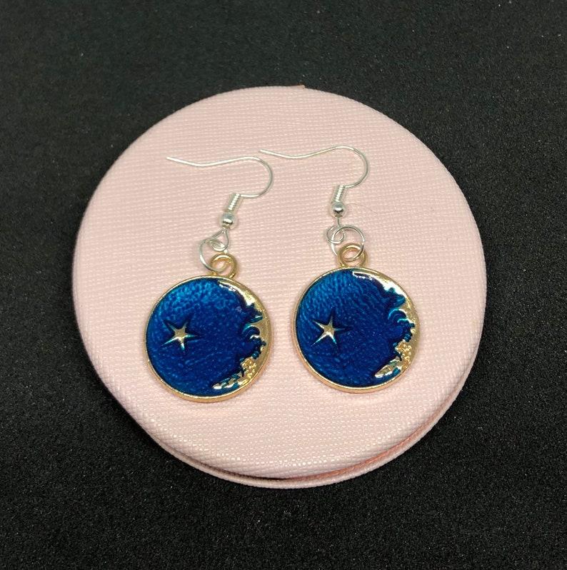 Blue moon /& star earrings