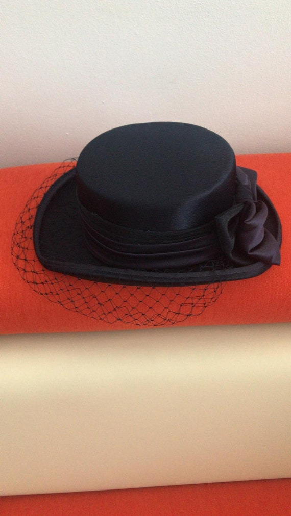 Viv Knowlands black hat - Lady Diana hat