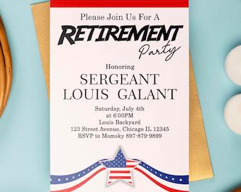 Military Retirement Invitation, US Navy Marines Army Air Force Police Retirement Invite, Police Invitation, Military Retirement, US Army