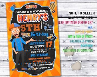 Blippi Birthday Invitation, Blippi Construction Invitation, Blippi Construction, Blippi Party Invite, Blippi Invite, Blippi Birthday Invite