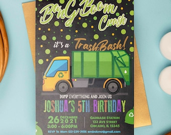 Garbage Truck Invitation, Garbage Truck Birthday Invitation, Trash Truck birthday Invitation, Truck Invite, Garbage, Truck Invitation, Fast