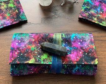 Tarot Pouch, Electric Galaxy design tarot wrap, protection cloth and 3 or 4 card reading cloth, large size for tarot or oracle decks