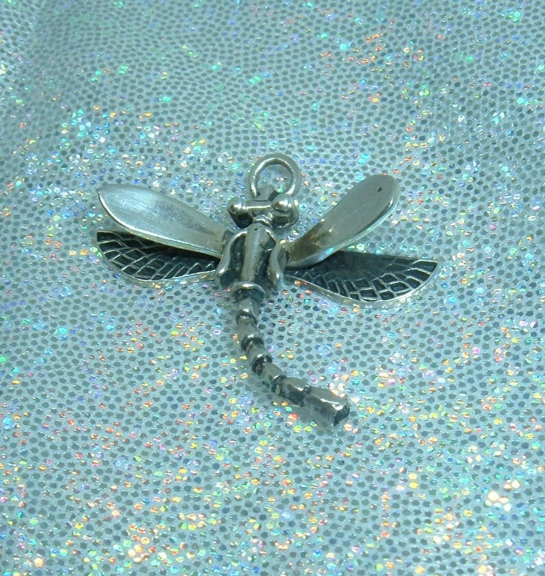 Vintage Sterling Silver Signed 925 Dragonfly Bug Charm with 3-D Design Small Measures 1 18 by 1 inch