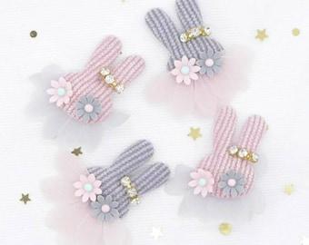 4 Plush Rabbit Rhinestone Flower Embellishments