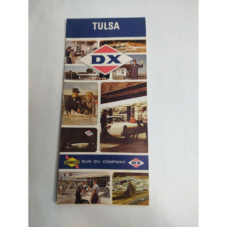 Vintage 1960s Tulsa OK DX Sunoco Gas Station Travel Road Map Advertisement Ad