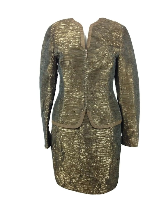 Carlisle Textured Metallic Gold Crepe Skirt Suit S