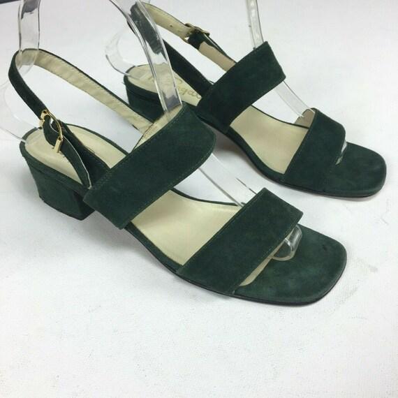 Pappagallo Vtg 60s Square Toe Sandals Sz 6 Green L