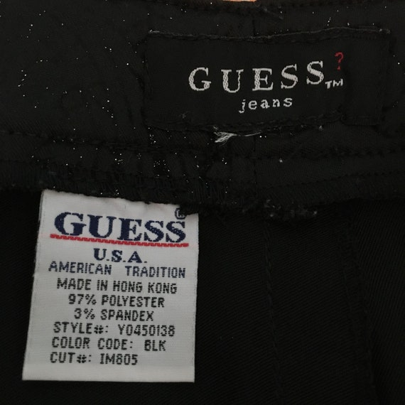 GUESS Vintage 1990s Black Printed Flare Pants Sz … - image 9