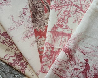 Designer Toile de Jouy Fabric Selection~Zoffany, Stof Sanderson Toile de Jouy Craft Pack