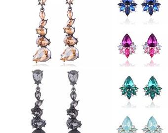 Wedding Engagement Crystal Rhinestone Cluster and Dangle Earrings