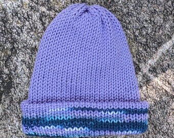 Lavender LXL Crocheted Purple and Grey Stocking CapWinter BeanieWinter Hat