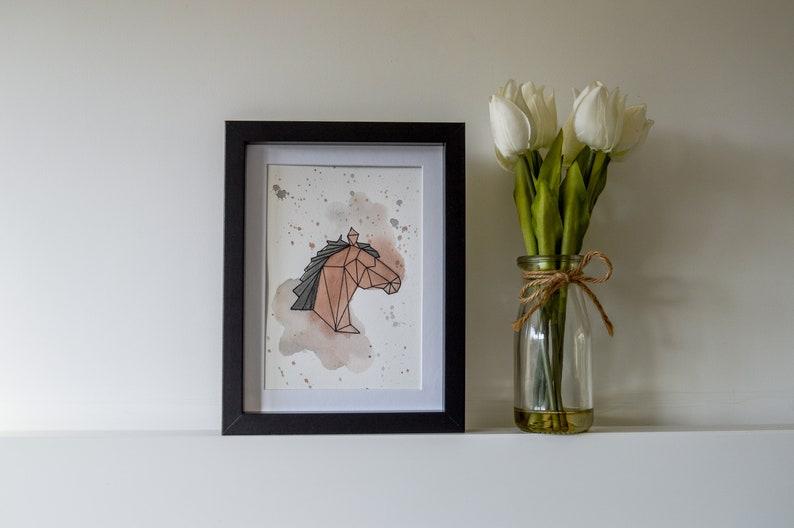 Watercolour Geometric Horse Unframed Painting  Original image 0