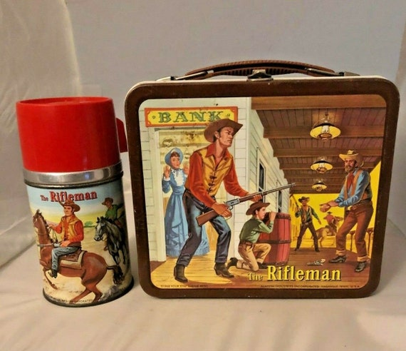 1960 Vintage THE RIFLEMAN Metal lunch box and THERMOS w/ Aladdin sticker
