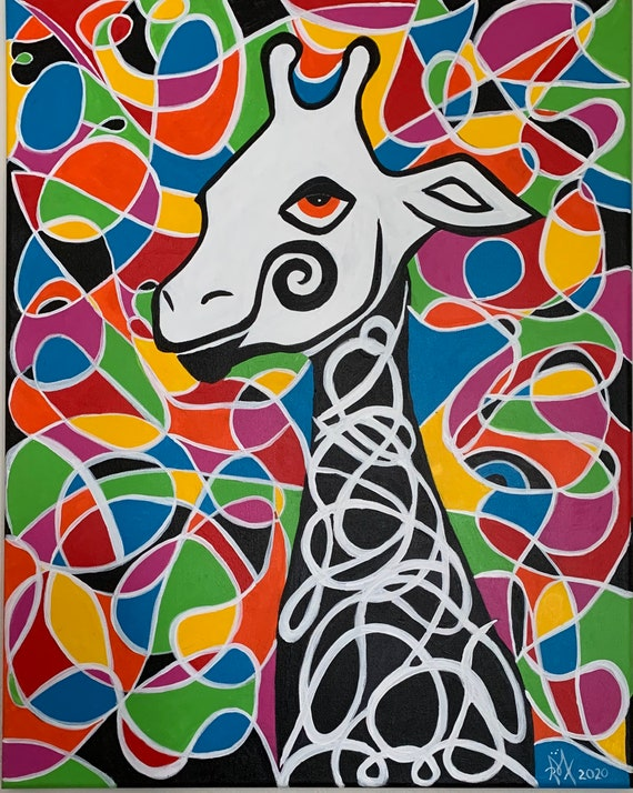Thirsty Giraffe poster 17x24inches