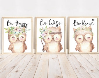 Kids Art Nursery Canvas Art Kids Art Girl Art Baby Shower Gift Nursery Prints Owl Nursery Wall Art Nursery Decor Nursery Art