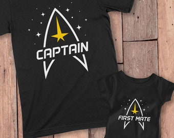 Captain and First Mate Shirt, Matching TShirt for Father And Son, Daddy and Me Shirts, Dad Daughter Shirts, Daddy Daughter Matching Shirts