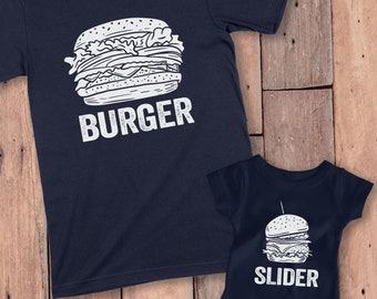 Matching Father Son Shirts, Father Son Shirts, Daddy And Me Shirts, Daddy And Son Matching Shirts, Burger and Slider Shirts, Dad and Toddler