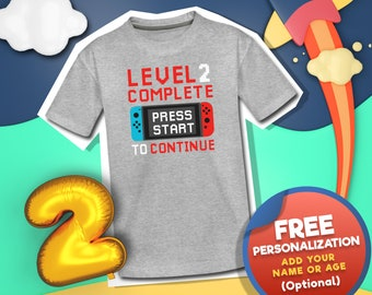 Personalized Birthday Boy Shirt, Level Complete Birthday Shirt, Gamer Birthday Themed Shirt, Level Up Bday Shirt, 2 Year Old Boy Gift