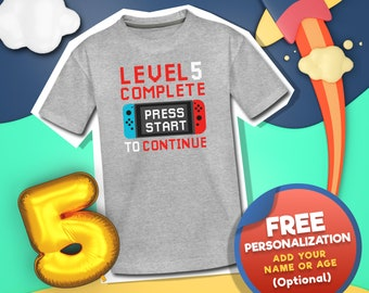 Personalized Gamer Birthday Boy Shirts, Gaming Birthday Party Shirt, Kids Birthday Name Shirt, Level Complete Bday Shirt, 5 Year Old Gift