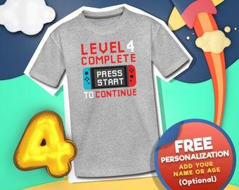 Customized Gaming Birthday Boy Shirts, Gamer Birthday Themed Shirt, Gamer Birthday Boy Shirt, Level Complete Bday Shirt, 4 Year Old Boy Gift