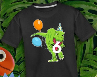 Personalized Dinosaur Birthday Shirt, Kids Birthday Custom Shirt, Kids Dinosaur Themed Shirt, Birthday Boy Custom Shirt, 6 Year Old Bday Boy