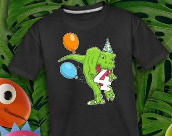 Customized Dinosaur Birthday Shirt, Kids Birthday Name Shirt, Dinosaur Birthday Boy Shirt, Birthday Boy Custom Shirt, 4 Year Old Bday Boy