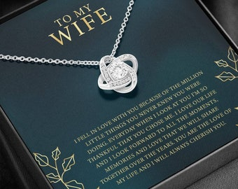 Personalized Message Necklace For Wife, Valentines Day Gift For Wife, To My Wife Jewelry, Love Knot Necklace, Wife Anniversary Gift