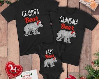 Bear Christmas Pajama Shirts, Christmas Shirts with Bear, Grandma Bear Grandpa Bear, Grandpa Grandma Shirts, Grandpa Grandon TShirts