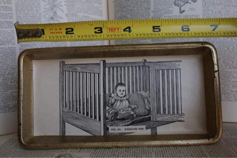 Old Timey Baby Vintage Glassware Decorative Tray Gothic Decor Playpen Retro Parent