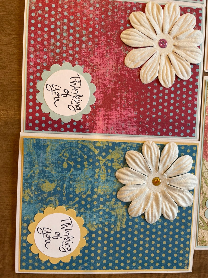 Set of 5 Thinking of you Sympathy Handmade Cards with Flowers and Glitter bead