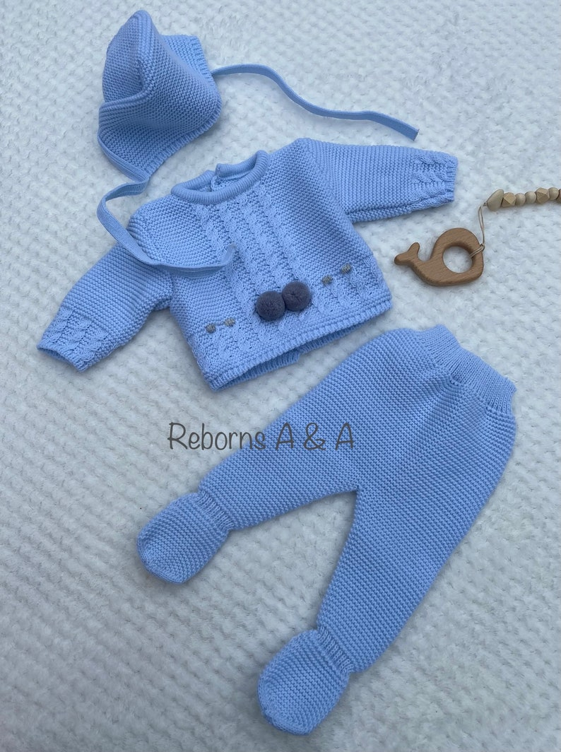 Reborn doll Preemie outfit. Preemie Coming Home outfit Baby boy Preemie clothes knitted