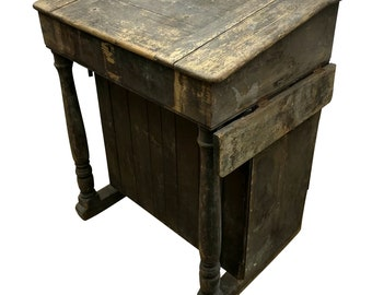 Charming Old Antique Stained Pine Clerks Writing Desk, Architects School etc