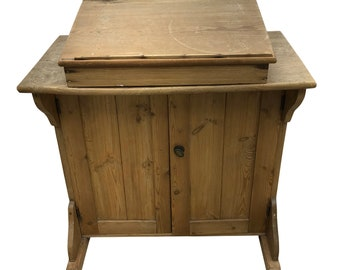 Charming Old Antique Vintage Stripped Pine Clerks Desk w/ Rising Lid & Cupboard