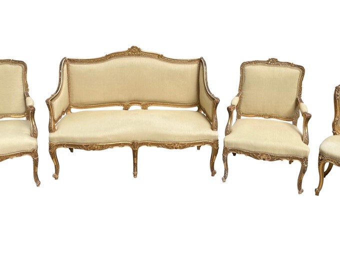 Featured listing image: Exceptional Antique French 19th Gold Gilt Upholstered Salon Suite, Sofa, Chairs