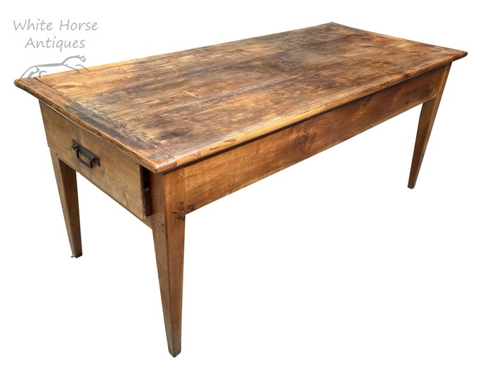 Featured listing image: Charming Antique French Fruitwood 3 Plank Top Farmhouse Dining Table w/ Drawers