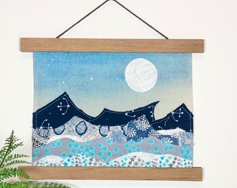 """hand-painted fabric collage landscape - """"Tide"""""""