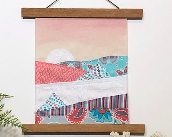 "Fabric wall art, hand-painted, nursery - ""Sunrise Sunset"""