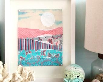 "Fabric wall art, hand-painted, nursery - ""New Day"""