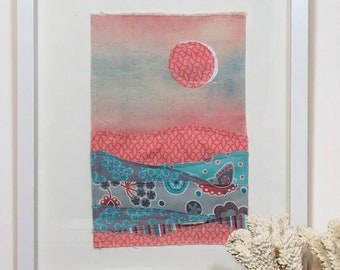 """Fabric wall art collage, hand-painted, nursery - """"Pink Moon"""""""